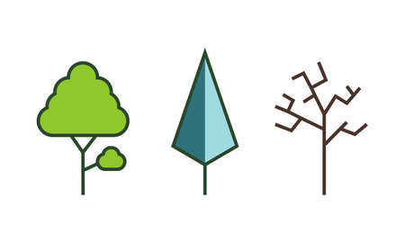 Tree flat style on white background color vector illustrator. Stock Photo