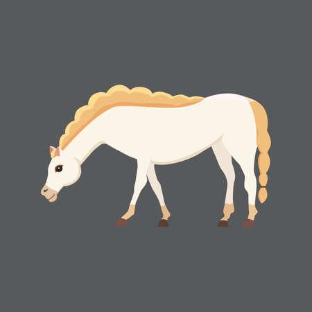 isolated horse. Cute cartoon horse farm animal vector