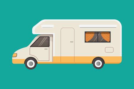 Retro camper trailer vector illustration. Illustration