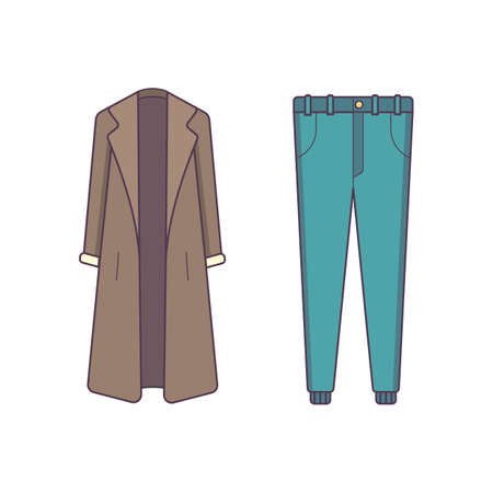 Stylish winter clothes . Style and fashion concept. Outerwear seasonal line art illustration.
