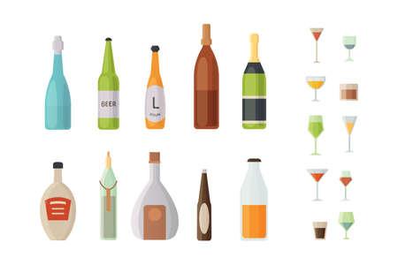 Set design alcohol bottles and glasses vector illustration. Illustration