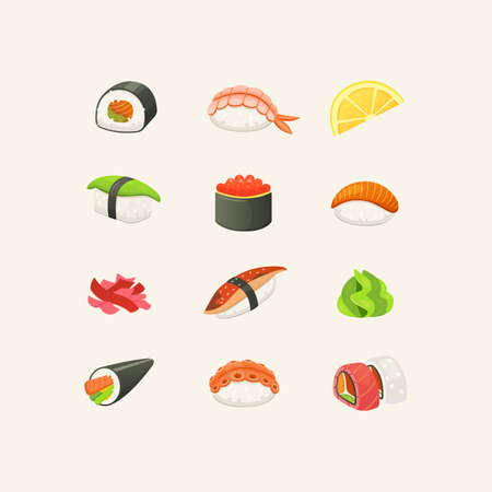 Traditional japanese sushi and rolls. Asian seafood, restaurant delicious and sashimi set. vector illustration.