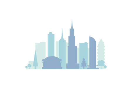 Set city buildings silhouettes, cityscape in future. Modern town elements vector illustration.