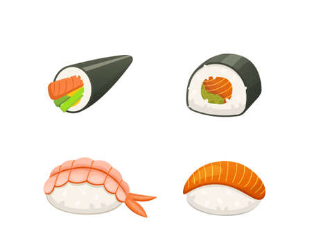 Traditional japanese sushi and rolls. Asian seafood, restaurant delicious vector illustration.