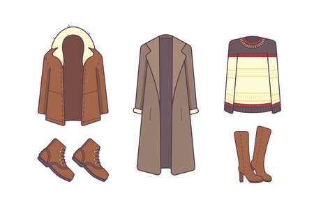 Stylish winter clothes and accessories. Style and fashion concept. Outerwear seasonal line art fashion illustration.