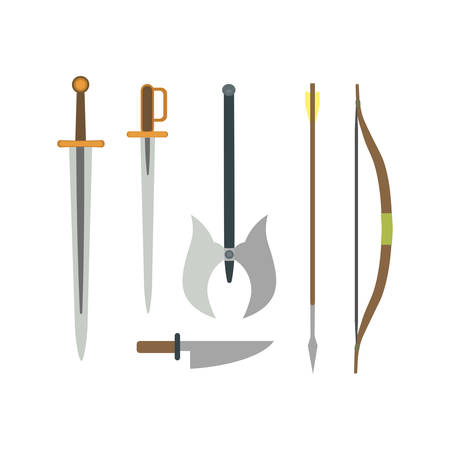 Set of different medieval weapons vector flat illustrations.
