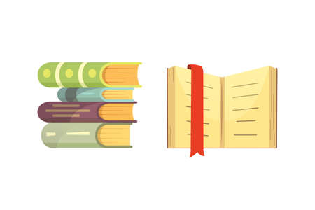 Books set in cartoon design style isolated on white background, vector illustration