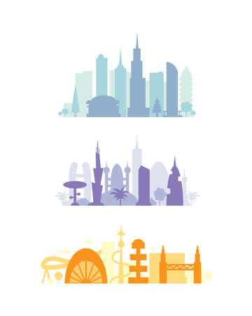 Set city buildings silhouettes. cityscape in future. Modern town elements vector illustration Reklamní fotografie - 95819766