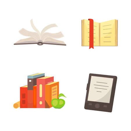 Books set in cartoon design style isolated on white background, vector illustration.