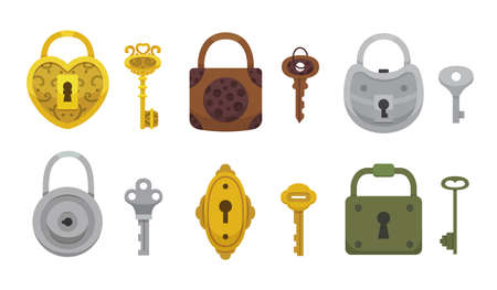 Ensemble de clés et serrures vintage. Cadenas de dessin animé de Vector illustration. Icône secrète, mystère ou sûre