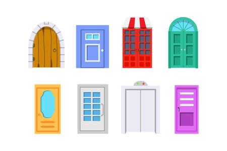 Set entrance door front view. homes and buildings vector element in cartoon style.