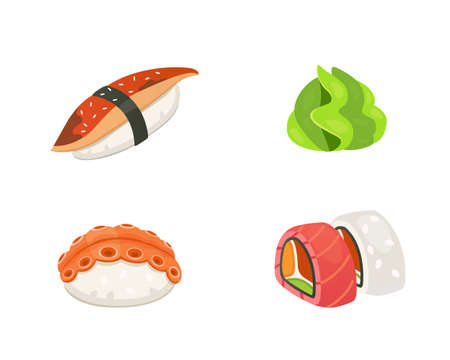 Traditional japanese sushi and rolls. Asian seafood vector illustration. Illustration