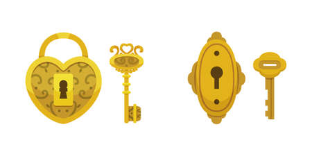Set of vintage keys and locks. Vector illustration cartoon padlock for Secret, mystery or safe icon.