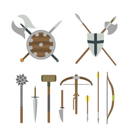 Set of different medieval weapons vector flat illustrations