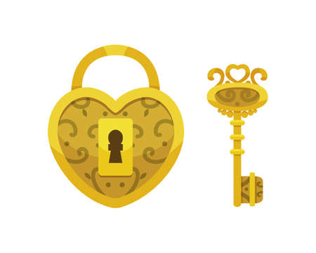 Vintage key and lock. Vector illustration cartoon padlock. Secret, mystery or safe icon. Illustration
