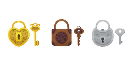 Set of vintage keys and locks. Vector illustration cartoon padlock. Secret, mystery or safe icon. Иллюстрация