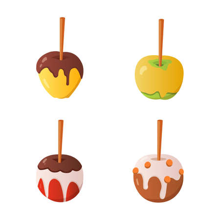 Sweet caramel and chocolate candy apple set. Vector illustration in cartoon style Illustration