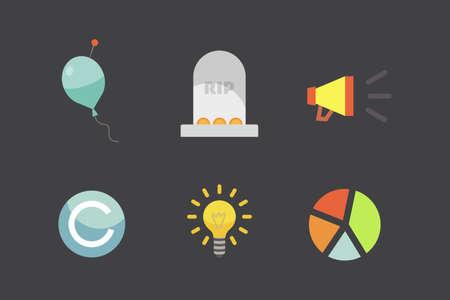 Token vector illustration and block chain technology icons. Stock Illustratie