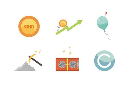 Token ICO vector illustration and blockchain technology icons Stock Illustratie