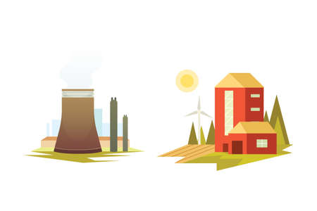 Different industrial factory buildings and plants. Industrial city construction set vector illustrations