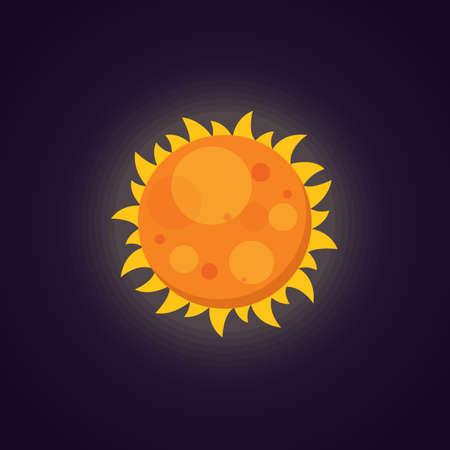 Sun icon in cartoon design. Vector illustration. Space.