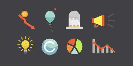 Token ICO vector illustration and blockchain technology icons. Stockfoto