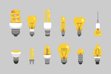 Light bulb and lamp set in cartoon style. Main electric lighting types vector. Idea illustration Ilustração