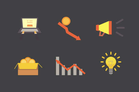 Token ICO vector illustration and blockchain technology icons. Stock Illustratie