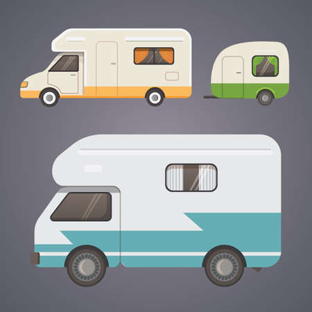 Retro camper trailer collection. car trailers caravan. tourism
