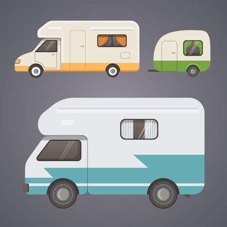 Retro camper trailer collection. car trailers caravan. tourism