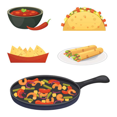 Mexican cuisine cartoon dishes illustration set. 矢量图像