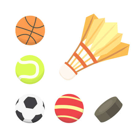 A Vector cartoon colorful ball set. sport balls icons  isolated on plain background.