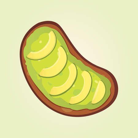 Realistic fresh avocado fruit. Vector illustration in cartoon style