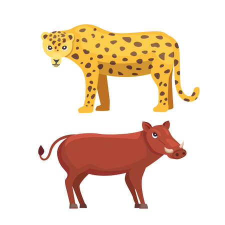 Leopard and warthog vector cartoon illustration. Illustration