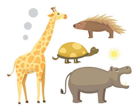 African animals cartoon vector set. safari isolated illustration