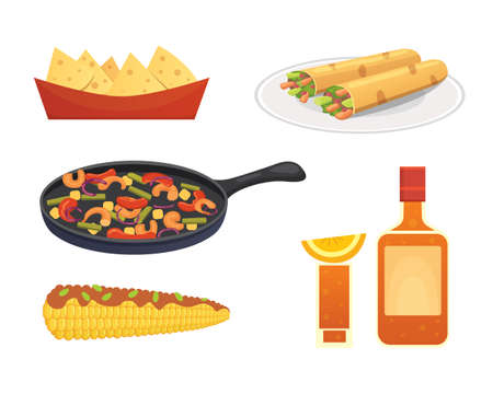 Mexican cuisine cartoon dishes illustration set