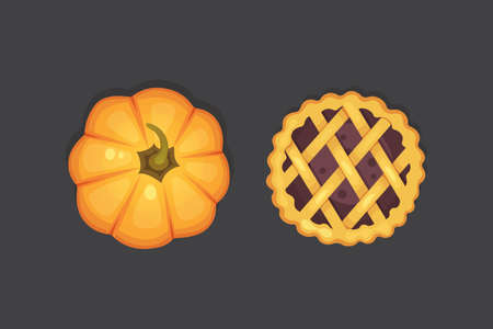berry and pumpkin pie vector icon isolated. Thanksgiving Day illustration