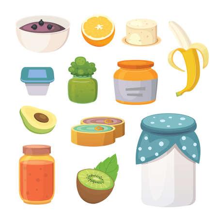 illustration vectorielle de fruits confiture biologique et smoothie. Vecteurs