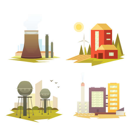 Different industrial factory buildings and plants. Industrial city construction set vector illustrations.