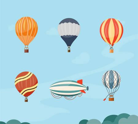 Hot air balloons and airship vector illustration travel. Summer ballooning adventure cartoon hotair freedom Ilustração Vetorial