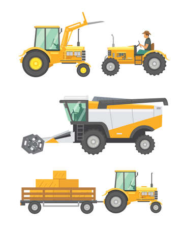 Maszyny rolnicze i wektor zestaw pojazdów rolniczych. Traktory, kombajn, ilustracja kombajnu w płaskiej konstrukcji. Letnie zbiory w rolnictwie