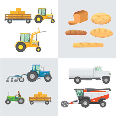 Set harvest vector. Agricultural machinery, farm vehicle and collection bread production. Tractors, harvester, combine illustration in flat design. Agriculture summer harvesting