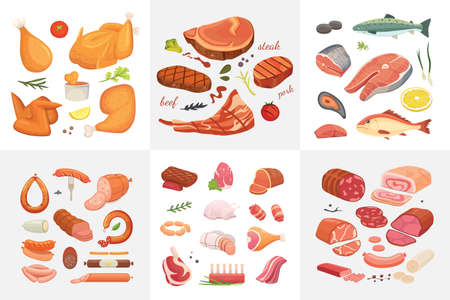 Different kind of meat food icons set vector. Raw ham, set grill chiken, piece of pork, meatloaf, whole leg, beef and sausages. Salmon fish and seafood Stock Illustratie