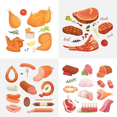Diversi tipi di carne cibo set di icone vettore. Prosciutto crudo, pollo grigliato, pezzo di maiale, polpettone, coscia intera, manzo e salsicce