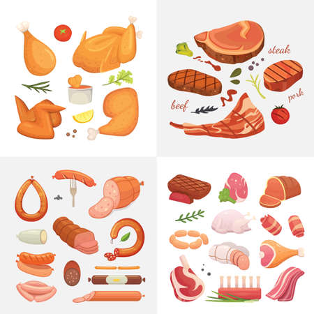 Verschiedene Arten von Fleischnahrungsikonen setzen Vektor. Roher Schinken, Set Grill Chiken, Stück Schweinefleisch, Hackbraten, ganzes Bein, Rindfleisch und Würstchen