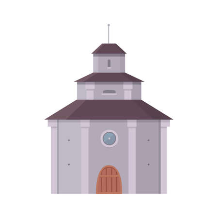 Medieval historical building, old city house vector illustration. Stock Photo