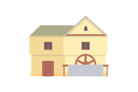 Medieval historical building, old city house vector illustration