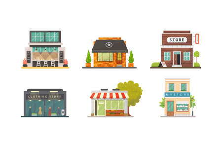 Shop store buildings vector illustrations set. Market exterior, restaurant and cafe. Vegetable store, pharmacy, boutique, urban front houses
