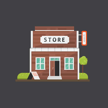 Shop store building vector illustration. Market exterior, urban front house Stock Photo
