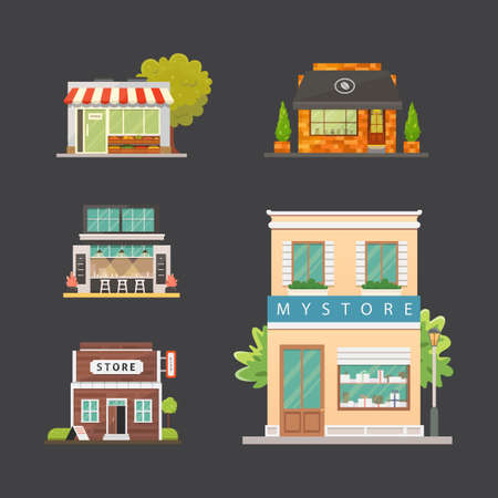 Shop store buildings vector illustrations set. Market exterior, restaurant and cafe. Urban front houses.